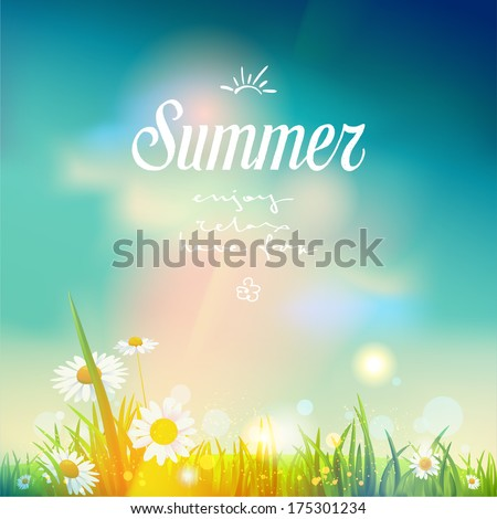 Summer sunrise or sunset background.  Vector design for print or web.