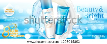 Summer sunscreen banner ads with swirling water and cream texture, bokeh glistening background 3d illustration