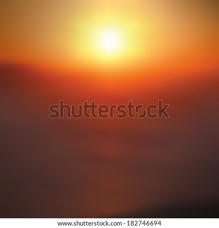 Summer sunset background. Sun over sea. Evening calm weather.