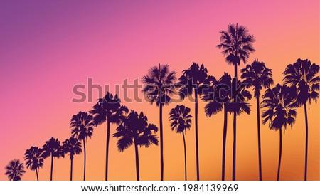 Summer sunset beach. Palm tree silhouette. Los Angeles, California, Hollywood. Design of social media, banner, poster, newsletter, advertisement, leaflet, placard, brochure, wallpaper, t-shirt, flyer.
