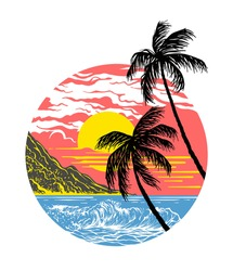 summer sunset with palm trees hand drawn illustration