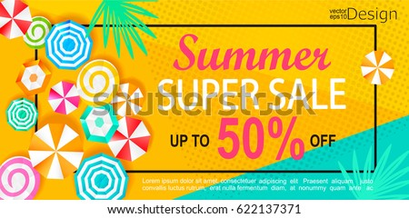 Summer super sale banner with sun umbrellas on background. Vector illustration template and banners, wallpaper, flyers, invitation, posters, brochure, voucher discount.