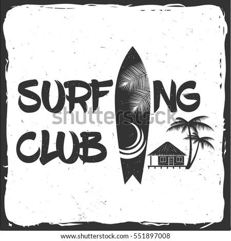 summer surfing retro badge