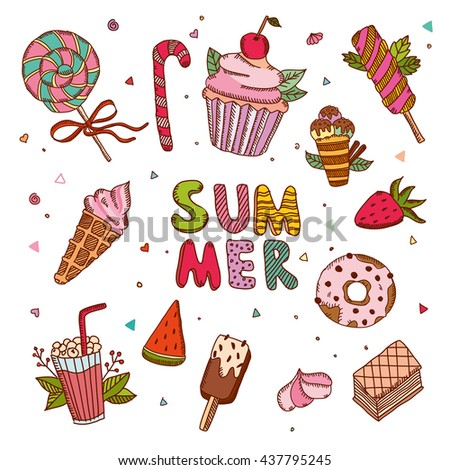 Summer sweet candies, fruits, drinks and ice cream set. Hand drawn illustration in bright colors on white background. Perfect for restaurant menu, invitation and postcard. #437795245