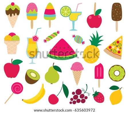 summer sweets vector set