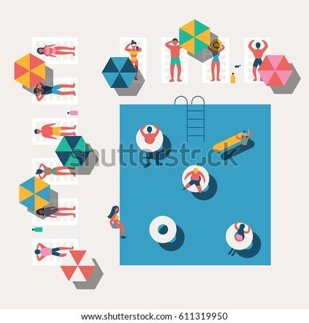 summer swimming pool season background people character vector illustration flat design