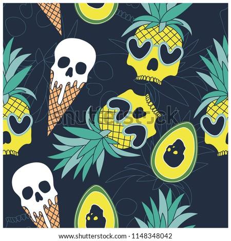 summer symbols seamless pattern