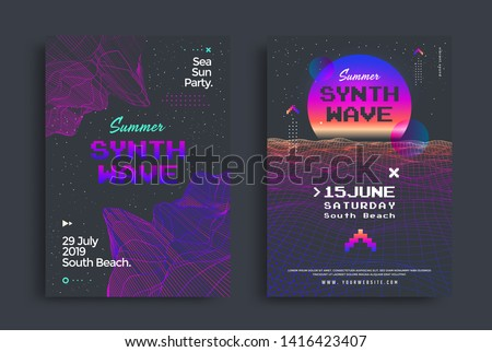 Summer synthwave party set of posters with grid wave. Cover in vaporwave style. Electronic Music Neon flyer of the 80s.