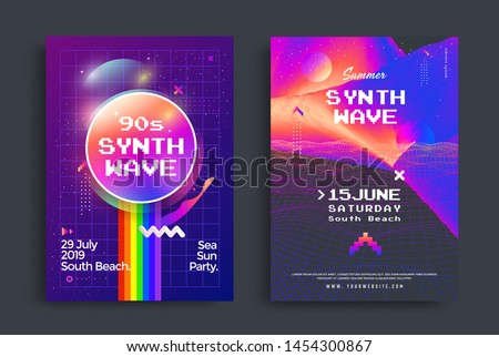 Summer synthwave party set of posters with grid wave. Cover in vaporwave style. Electronic Music Neon flyer of the 80s and 90s.