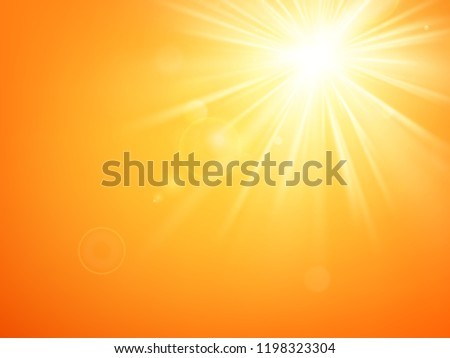 Summer template hot summer sun rays burst with lens flare. EPS 10