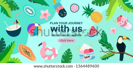 Summer theme banner with exotic fruits and birds, tropic plants and tasty ice cream. Creative banner, flyer, landing page or blog post for travel agency or tour operator in a flat trendy style.
