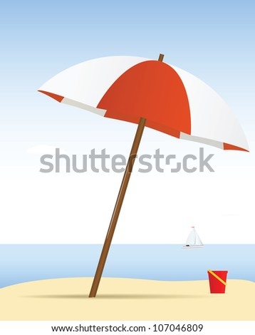 Summer theme. Umbrella on the beach with yacht - stock vector