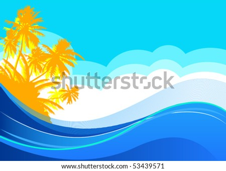 Summer themed beach illustration background with place for text