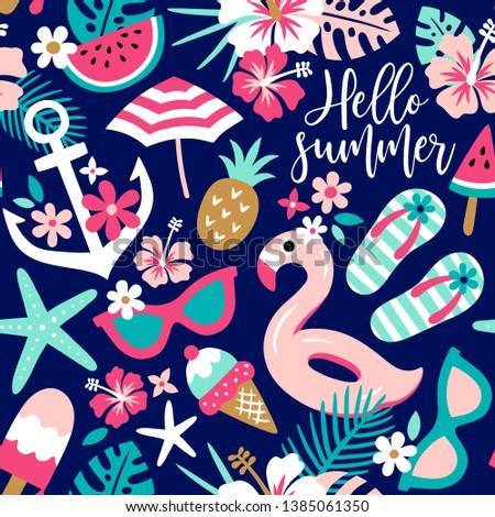 summer themed seamless vector