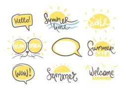 Summer time and discounts. Set Handwritten calligraphy, banner, title. Vector illustration.