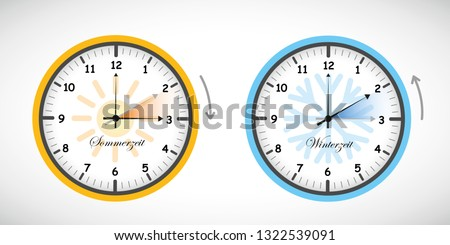 summer time and winter time clock daylight saving vector illustration EPS10