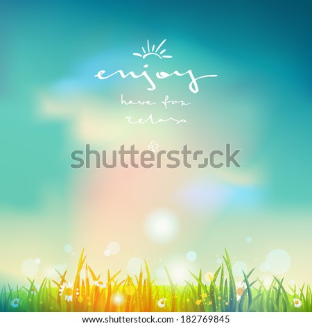Summer time background with bright sunlight and blue sky