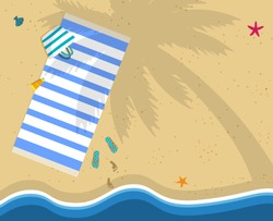 Summer Time Background with Copy Space. Top View of Sea Beach with Towel, Bag, Flip Flops and Footprints on Sand. Palm Tree Shadow on Seaside. Seashells. Coast Waves. Cartoon Flat Vector Illustration.