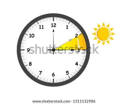 summer time change for daylight saving wiht sun vector illustration EPS10