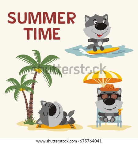 summer time collection cartoon