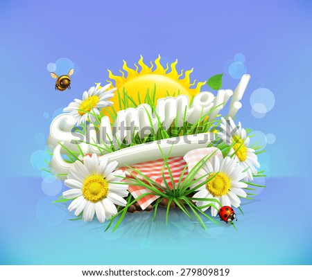 Summer, time for a picnic, nature, outdoor recreation, a tablecloth and sun behind, grass, flowers of chamomile, vector illustration showing the summertime