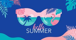 Summer time fun concept design. Creative background of landscape, panorama of sea and beach on sunglasses. Summer sale, post template