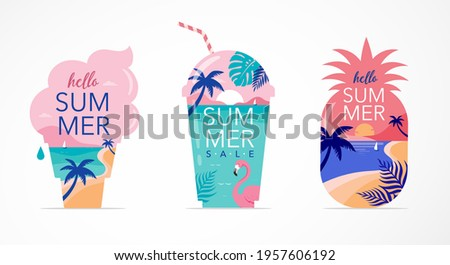 Summer time fun concept design. Creative background of landscape, panorama of sea and beach on pineapple, ice cream and smoothie shake glass. Summer sale, post template