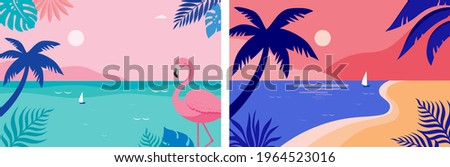 Summer time fun concept design. Creative background of landscape, panorama of sea and beach. Summer sale, post template