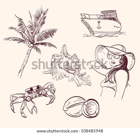 summer time - hand drawn  set isolated vector illustration