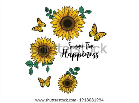 summer time happiness keep life simple Monarch Butterflies lettering hand drawn vector art sun flower lettering hand drawn vector art sunflower keep life simple sunflower positive quote stationery