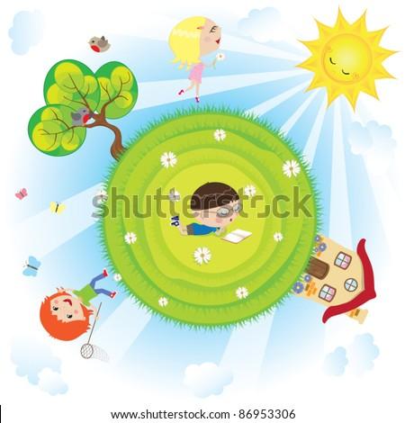 summer time happy children