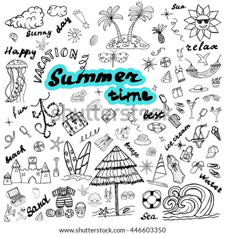 summer time ideal sketch icons