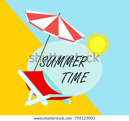 Summer time in beach sea shore with realistic objects and space for your text. Vector Illustration