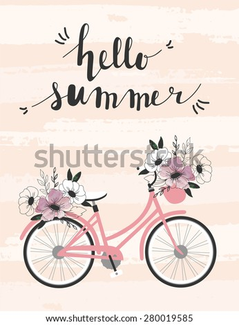 summer time poster with bicycle