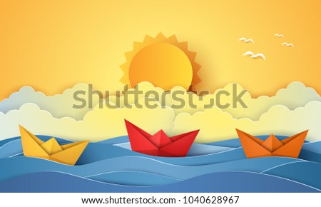 summer time   sea with origami