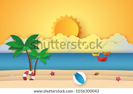 Summer Time Sea With Origami Boat Beach And Coconut Tree Paper Art Style