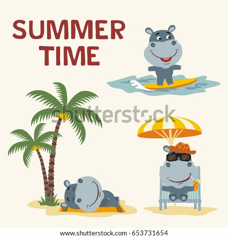 Summer time. Set happy hippo resting on beach. Collection cartoon hippo surfing, laying under palm tree, resting in sun lounger with cocktail.