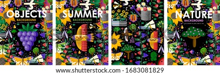 Summer time! Set posters of summer blooming flowers, juicy fruits, abstract birds, butterfly, gardening and nature on black background. Vector illustration for banner, card, poster or postcard