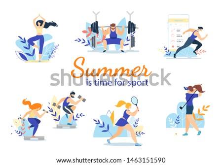 Summer Time Sport Activities Set Isolated on White Background. Sportsmen, Sportswomen Characters Workout. Athletics, Gymnastics Exercises, Golf, Bodybuilding, Tennis. Cartoon Flat Vector Illustration