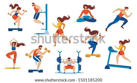 Summer Time Sport Activities Set Isolated on White Background. Sportsmen, Sportswomen Characters Workout. Athletics, Gymnastics Exercises, Yoga, Bodybuilding, Fitness. Cartoon Flat Vector Illustration
