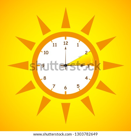 summer time standard time after advancing for daylight saving time on yellow background vector illustration EPS10