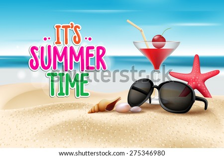 summer time title in sand and
