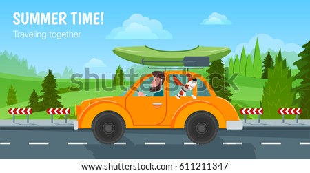 Summer time! Traveling together. A man and his dog riding in the car on the road and driven canoe