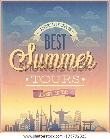 summer tours poster. vector...