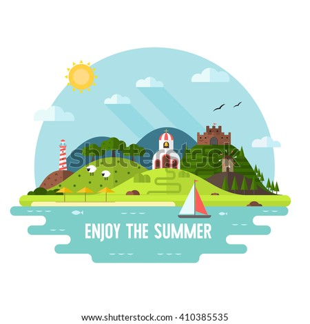Summer travel adventure flat landscape. Summer travel island background. Hill, lighthouse, beach umbrellas, church and windmill landmark. Summer travel time concept scene. Enjoy the summer travel card