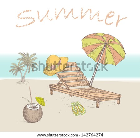 Summer travel background. Vintage vacation design with holiday elements