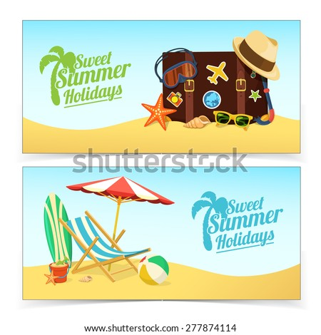summer travel banners tropic