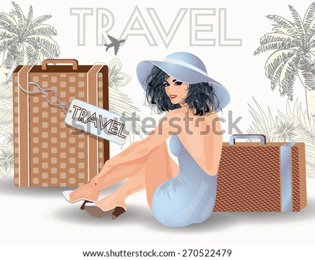 summer travel beauty girl pin