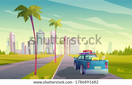Summer travel by car. Vector cartoon illustration of auto with luggage on road to tropical city with skyscrapers and palm trees. Concept of vacation, trip by car to resort