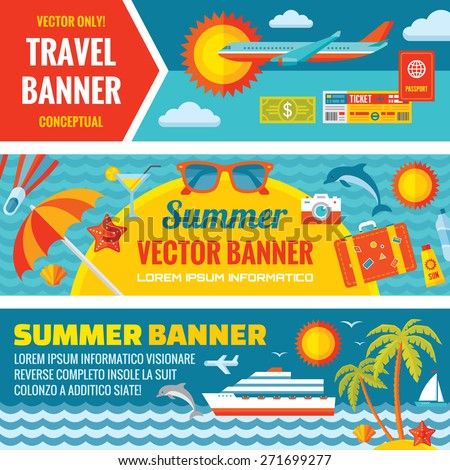 Summer travel - decorative horizontal banners set in flat style. Vector backgrounds. Icons collection. Creative layout. Design elements.